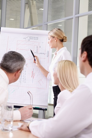 A young employee showing a project to her colleagues Stock Photo - 9727191