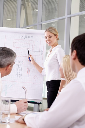 A young businesswoman making presentation of her plan photo