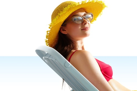 Portrait of a young girl in hat and sunglasses Stock Photo - 9727146