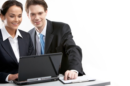 Two businesspeople working at computer Stock Photo - 9727111