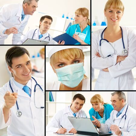 Collage of blue collar workers in working environment photo