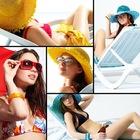 collage people: Collage of a young lady enjoying her summer vacations