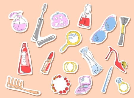 Vector illustration of beauty stickers on a pink background  Ilustracja