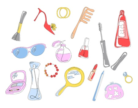 Collection of cosmetic objects and accessories, vector illustration Ilustracja