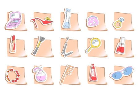 Vector illustration of fifteen square stickers with elements of beauty   Vector