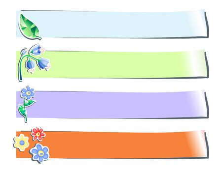 Collection of four color stickers with flowers, vector illustration Stock Vector - 9721466