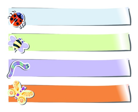 Set of four stickers with insects, vector illustration Stock Vector - 9721478