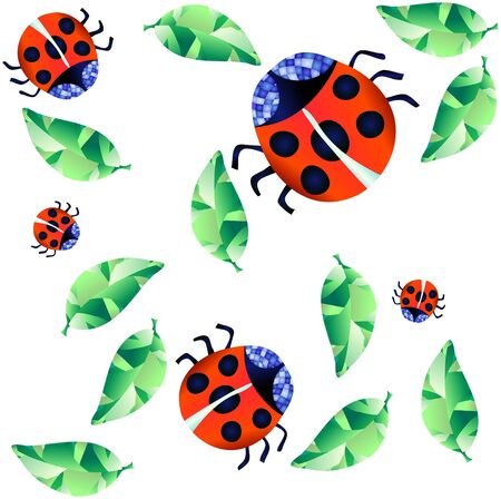 Vector illustration of ladybirds and green leaves on a white background  Vector