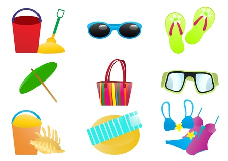 Vector illustration of beach accessories on a white background   Vector