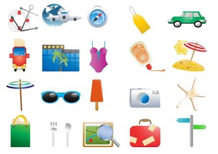 monokini: Vector illustration of holiday symbols on a white background