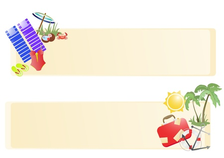 monokini: Vector illustration of summer vacation banners