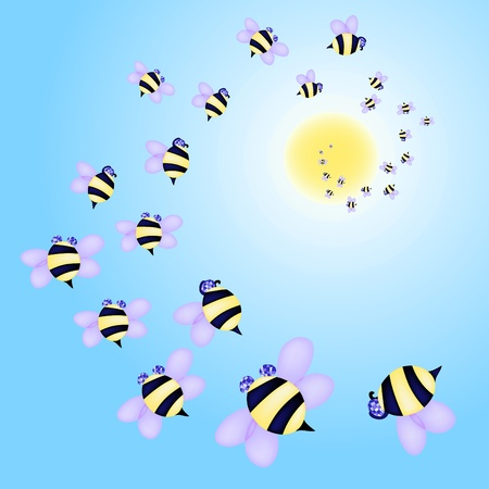 Vector illustration of swarm of bees flying to the sun