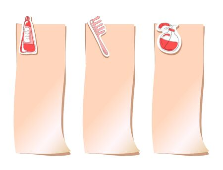 haircare: Set of pink stickers with haircare objects, vector illustration Illustration