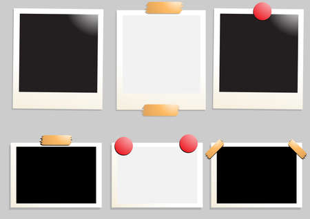 Collection of six empty photos, vector illustration
