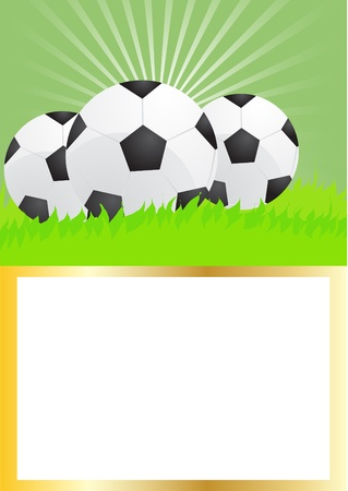 Card of soccer balls on green grass, illustration   Vector