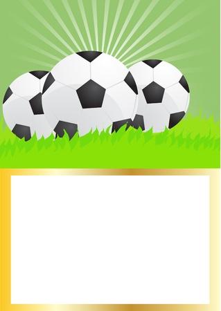 Card of soccer balls on green grass, illustration Stock Vector - 9728201