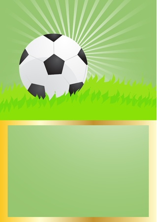 Card with green background of soccer ball, illustration        Vector