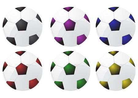 Collection of soccer balls, illustration     Vector