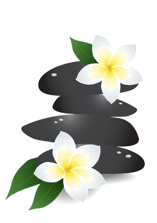 illustration of pile of stones with flowers  Vector