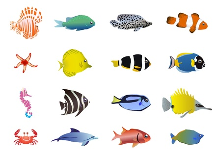 illustration of set of sea creatures Stock Vector - 9728090