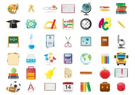 iconos educacion: Ilustraci�n de iconos de educaci�n escolar