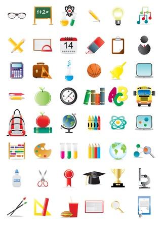 Conjunto de iconos de educación, ilustración