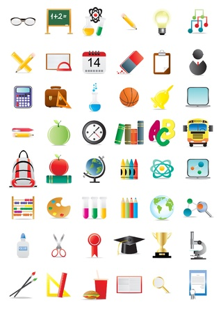 Set of education icons, illustration Stock Vector - 9728293
