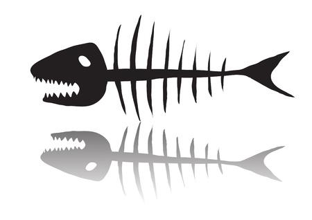 illustration of black skeleton of fish