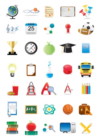 back icon:  illustration of collection of several educational icons