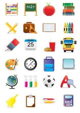 calendario escolar: Colecci�n de iconos de la escuela y la educaci�n, la ilustraci�n  Vectores