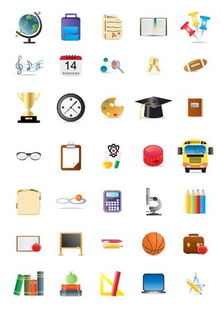 back icon: Collection of school and education icons