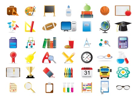atom icon: Set of education icons isolated on a white background          Illustration