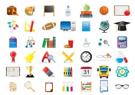 education background: Set of education icons isolated on a white background          Illustration