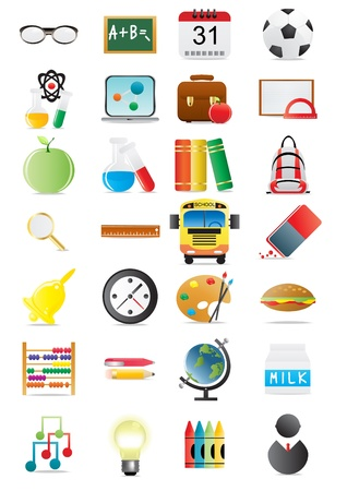 illustration of collection of education icons  Vector
