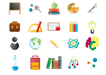 Collection of scholastic icons, illustration Stock Vector - 9728187
