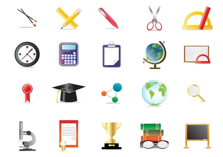 Set of academy educational icons, illustration  Vector