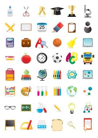 Ilustración de los objetos de la escuela, gran colección
