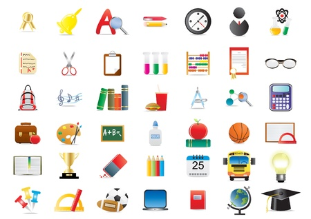 atom icon: illustration of set of several school icons  Illustration