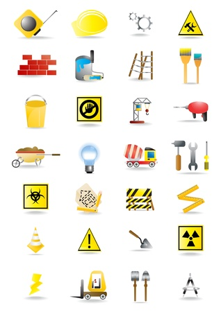 icons of building and construction tools Vector