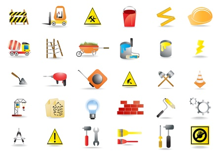 bucket and spade:  illustration of building and construction icons