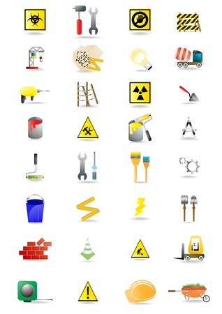 icons of the tools you can see at construction site Stock Vector - 9728196