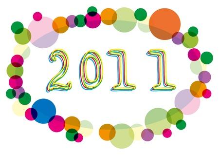 surrounded: Illustrazione vettoriale del 2011 anno numero circondato da cerchi multicolore