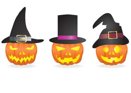 frightful: Collection of halloween pumpkins with carved faces and hats