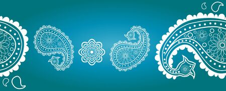 Eastern ornament against blue background Vector
