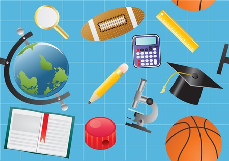 illustration of educational objects on a blue background  Vector