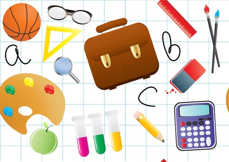 illustration of educational objects on a white background Vector