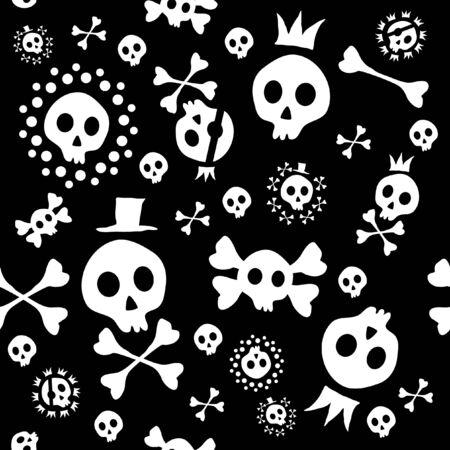 frightful: Vector illustration of skull seamless