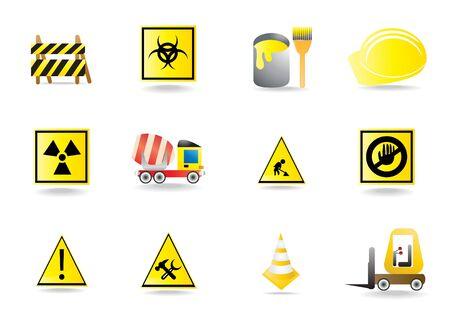 hardhat icon: Set of under construction icons, illustration