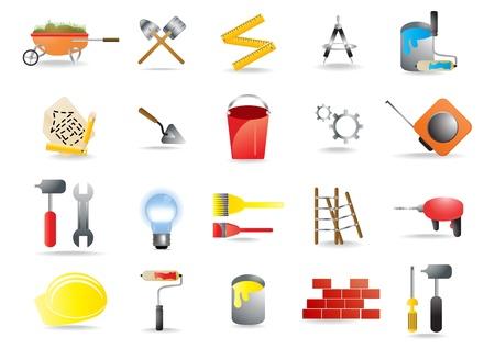 art and craft equipment:  iconos que representan la construcci�n y herramientas de construcci�n