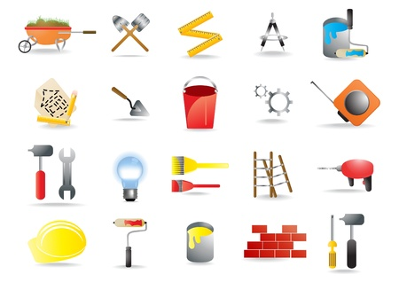 construction icon:  icons representing construction and building tools Illustration